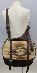 RRL native pattern leather shoulder bag