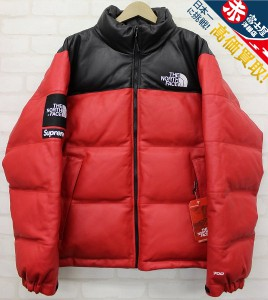 17AW Supreme × The North Face Leather Nuptse Jacket シュプリーム ノースフェイス レザーヌプシダウンジャケット赤