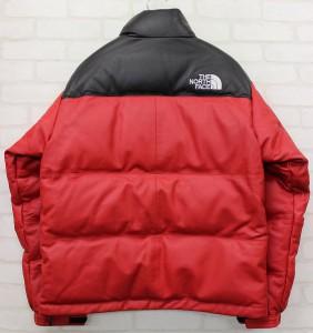 17AW Supreme × The North Face Leather Nuptse Jacket シュプリーム ノースフェイス レザーヌプシダウンジャケット赤3